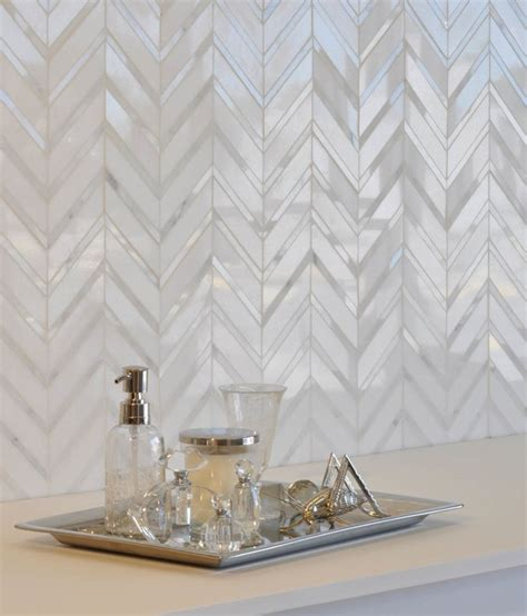 Shell Bathroom Mirror - herringbone tile backsplash design ideas