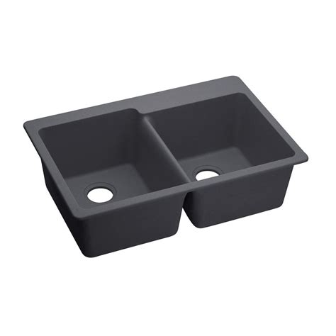 Premium Kitchen Sinks Elkay Premium Quartz Undermount Composite 33 In Bowl Kitchen Sink In Charcoal