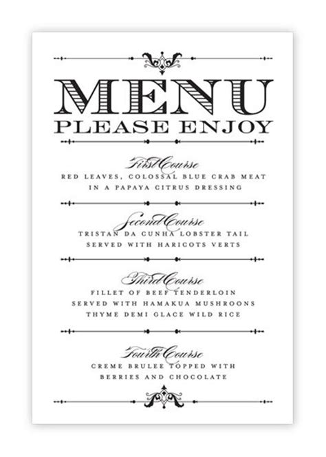 menu cards for weddings free templates wedding menu card printable diy by hesawsparks on etsy