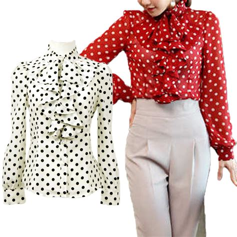 Frill Satin Polka sleeve ruffle shirt polka dot dress frill