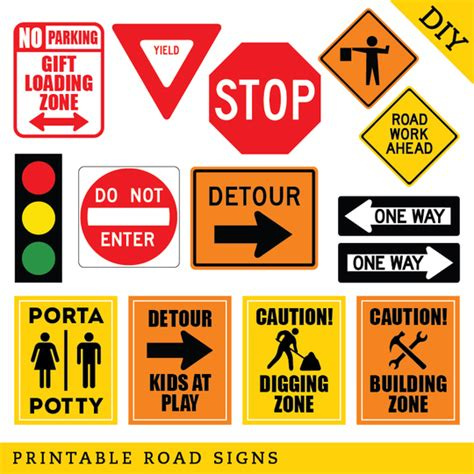 printable retirement road signs construction party diy printable road signs instant download