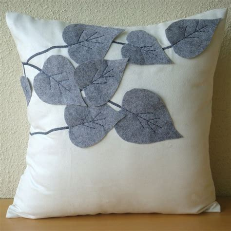 Felt Throw Pillows by White Decorative Pillows Cover Square Leaf Felt Applique