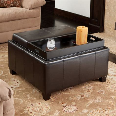 Espresso Storage Ottoman Shop Best Selling Home Decor Mansfield Espresso Faux Leather Ottoman At Lowes