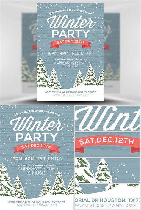 Flyer Template Psd Rustic Winter 187 Nitrogfx Download Unique Graphics For Creative Designers Rustic Flyer Template