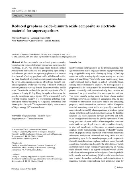 capacitor reduced graphene oxide reduced graphene oxide bismuth oxide composite as electrode material for supercapacitors pdf