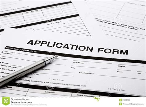 Application Of Application Form Royalty Free Stock Image Image