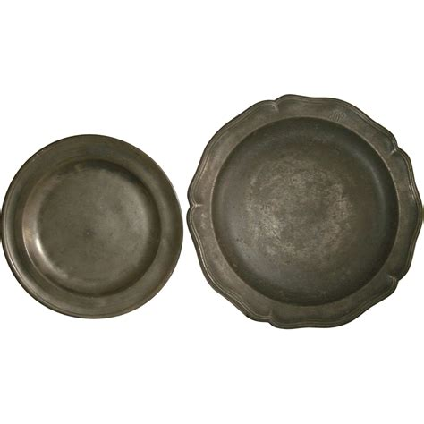 pewter charger antique pewter plate charger w scalloped border