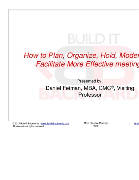 How To Do Mba Effectively by How To Hold Facillitate More Effective Meetings