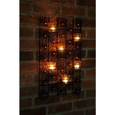 wall mounted tea light holders flower wall mounted tea light holder black country metal