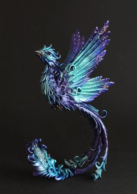 phoenix sculpture phoenix figurine ooak bird figurine bird
