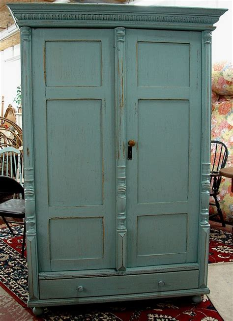 painted tv armoire antique reclaimed english covington blue milk painted pine