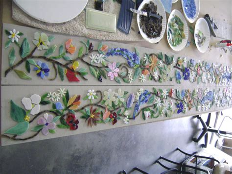 Tuscan Wall Murals mosaic border tiles in floral motif designer glass