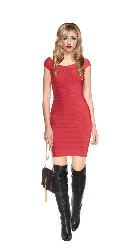 knee high boots with your herve leger tayler bandage dress