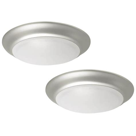 Shop Project Source 13 In W Brushed Nickel Led Ceiling Flush Mount Light At Lowes Shop Project Source 2 Pack 11 22 In W Brushed Nickel Led Flush Mount Light Energy At Lowes