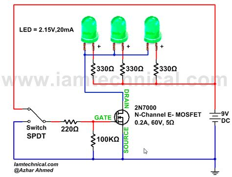mosfet or transistor switch n channel e type mosfet switching led s iamtechnical