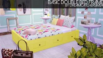 sims 4 cc beds my sims 4 blog basic double bed frame in 20 colors by