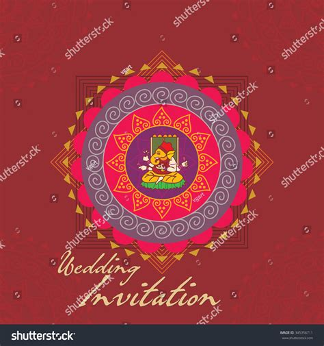 Indian Wedding Concept by Indian Wedding Invitation Card Concept Vector Illustration