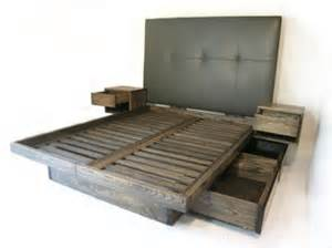 Custom Platform Bed With Storage Custom Platform Bed With Drawers And Sidetables