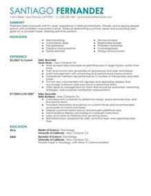 Create Resume Sles by Part Time Sales Associates My Resume