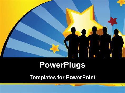 Powerpoint Template Silhouette Of People With Large Powerplugs Powerpoint
