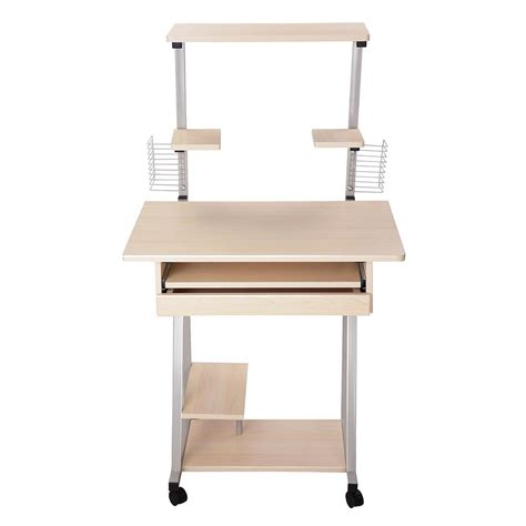 Mobile Computer Desk Tower Printer Shelf Laptop Rolling