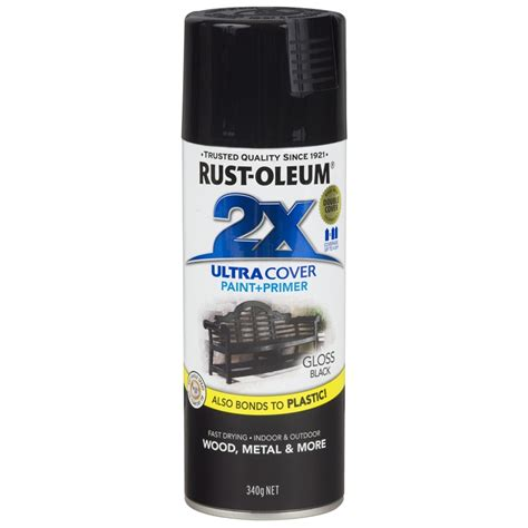 rust oleum 340g ultra cover 2x gloss black spray paint bunnings warehouse