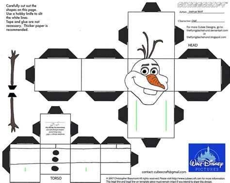 Free Printable Papercraft - dis29 olaf cubee by theflyingdachshund on deviantart
