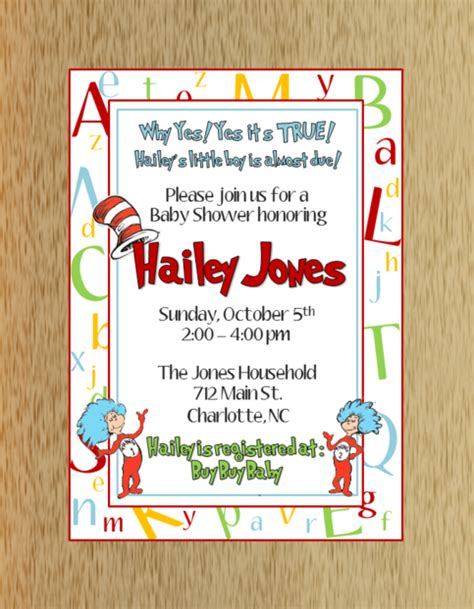 City Dr Seuss Baby Shower Invitations by Dr Seuss Baby Shower Invitation On Storenvy