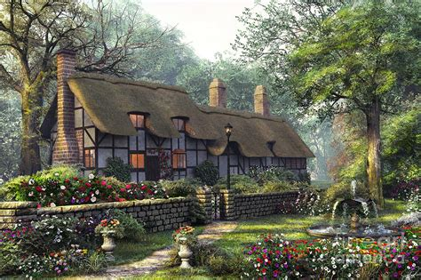 Country Cottage Cross Stitch The Old Cottage Digital Art By Dominic Davison