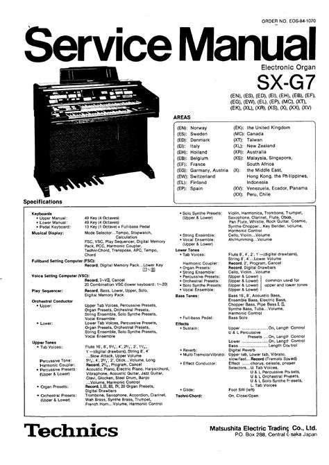 Technics Sx G7 Service Manual Immediate Download