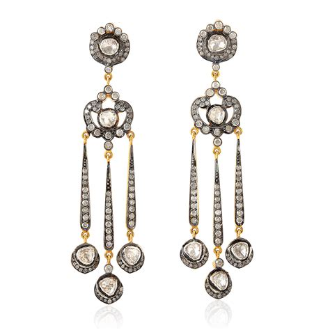 Chandelier Fashion Earrings 2 19ct Pave Diamond 18k Gold Silver Chandelier Earrings