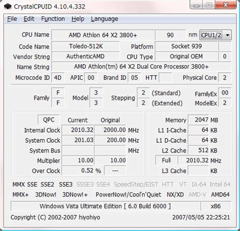 cpu info crystalcpuid software crystal dew world