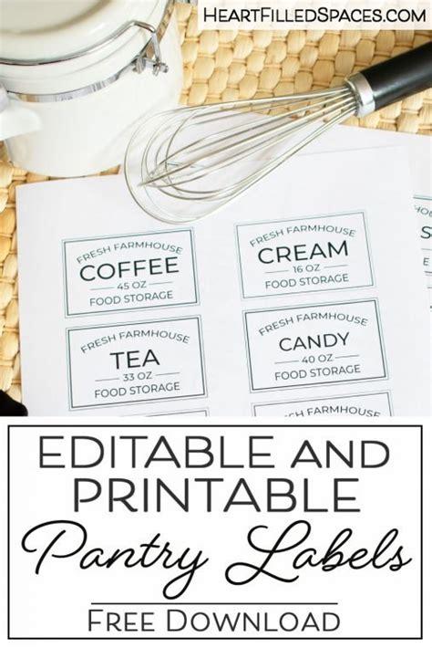 editable printable kitchen pantry labels  storage