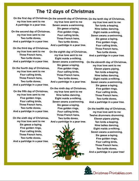 Printable Lyrics To 12 Days Of Christmas | rudolph ramblings september 2013