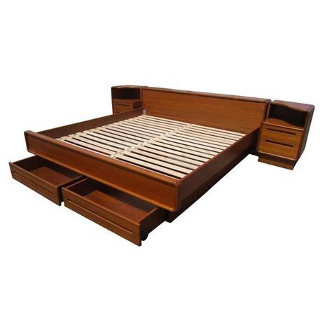 Teak Platform Bed Frame Vintage Mid Century Teak Platform Bed With Nightstands For Sale At 1stdibs
