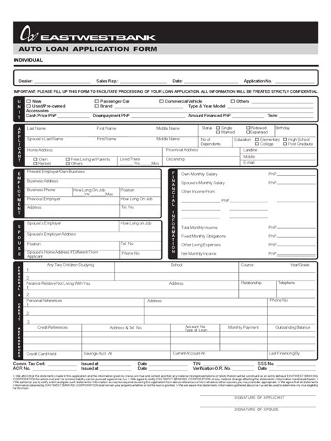 Auto Loan Credit Application Form Template Auto Loan Application Form 1 Free Templates In Pdf Word Excel