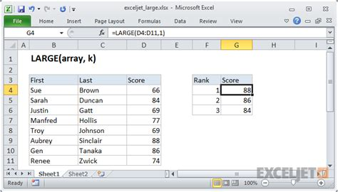 Spreadsheet Functions by How To Use The Excel Large Function Exceljet