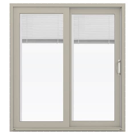 Jeld Wen Sliding Patio Doors With Blinds Shop Jeld Wen V 4500 71 5 In Blinds Between The Glass Desert Sand Vinyl Sliding Patio Door With
