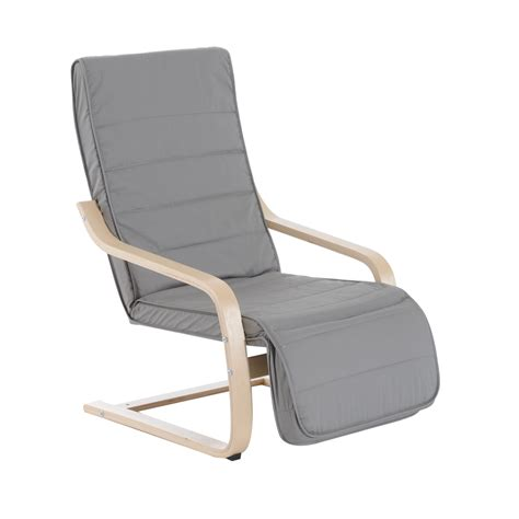 reclining deck chair homcom 39 quot reclining bentwood deck chair light gray