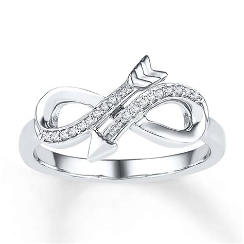 infinity arrow ring 1 20 ct tw diamonds sterling