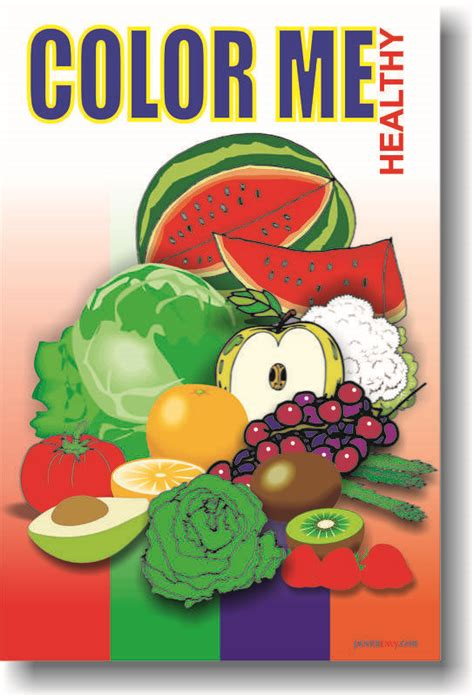 new health food diet school poster color me