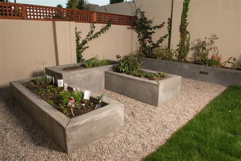 poured concrete raised beds landscape modern with raised