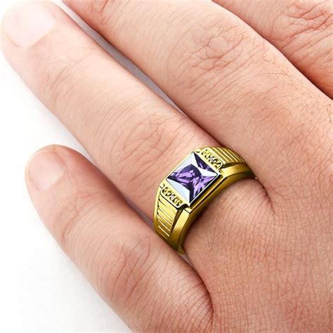 s 10k gold ring with purple amethyst gemstone and