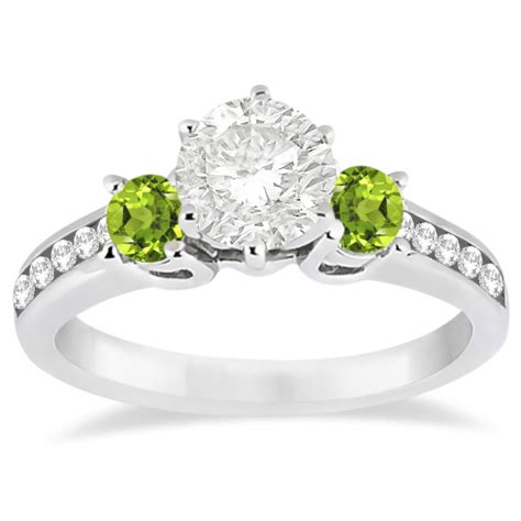 Peridot Engagement Rings by Three Peridot Engagement Ring 14k White