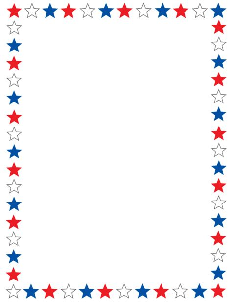 printable star border paper borders red white and blue stars stationary