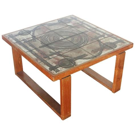 Tile Top Coffee Table Tile Top Coffee Table With Teak Baseby By Ox At 1stdibs