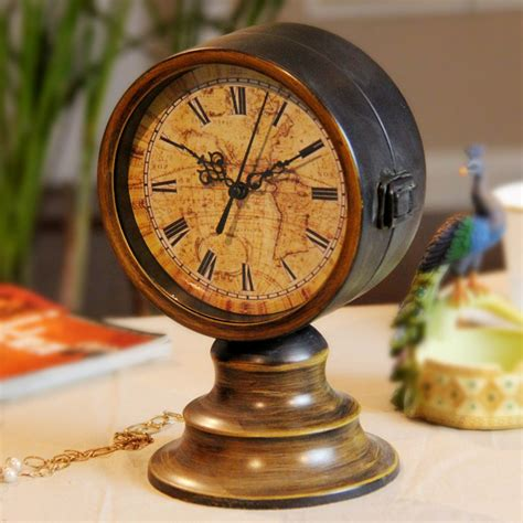 Vintage Retro Metal Bicycle Two Sided Table Clock Jam Meja vintage antique decorative sided clock desk top table clock study room ebay