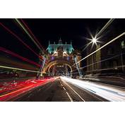 London Tower Bridge Car Light Trails Night Britain