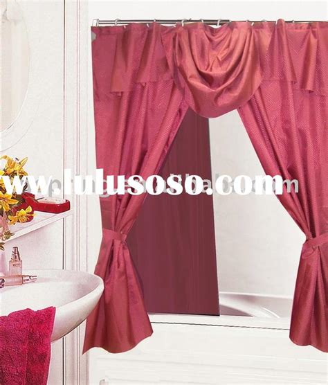 Swag Shower Curtain Attached Valance Bys017 Lace Shower Curtain Wtih Vinyl Liner Shower Curtain
