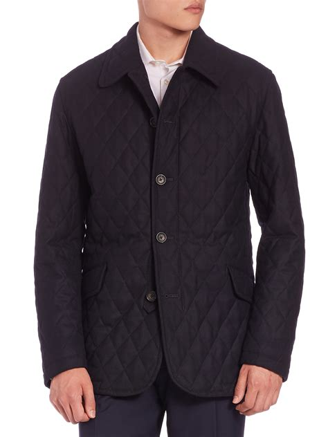 Quilted Wool Coat by Sanyo Quilted Wool Twill Coat In Blue For Lyst